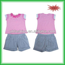2013 summer girls 2 pcs set with top and j short with kid clothes