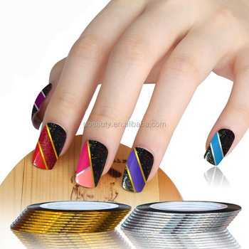 Nstl 22313d Nail Art Decoration Nail Striping Tapenail Tape Golden