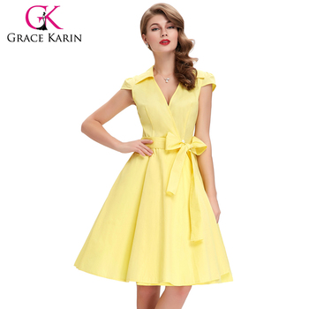 f8f2d824bb93 Grace Karin Wholesale Women Summer Dresses Cap Sleeve Short 50s 60s vestido Vintage  Retro Party Dress