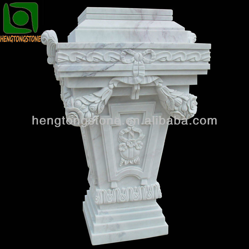 Hand Carved White Marble Column Pedestal