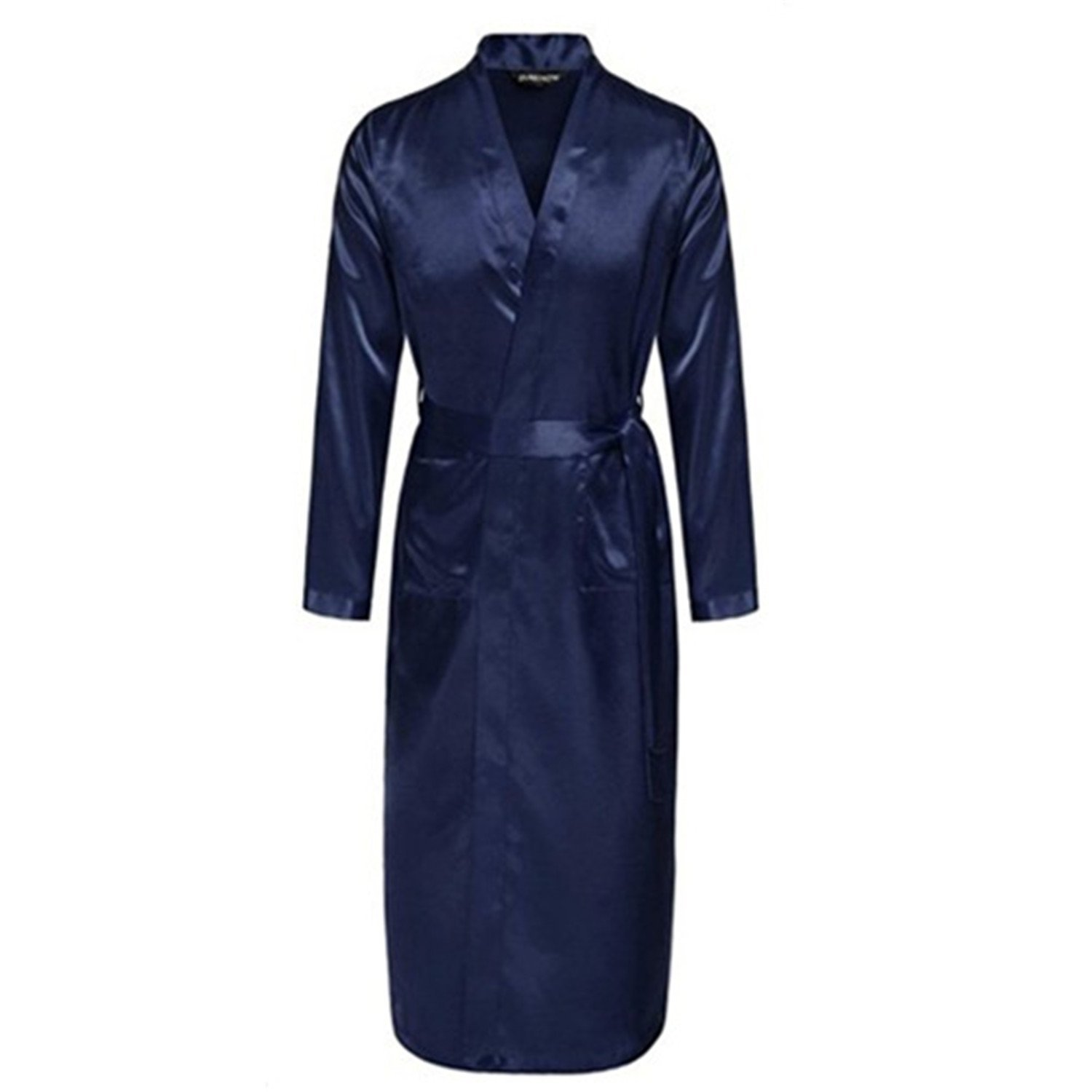 6e4c19e400b Get Quotations · Orcan Bluce Black Men s Satin Rayon Robe Gown Solid Color  Kimono Bath Gown Lounge Nightgown Sleepwear