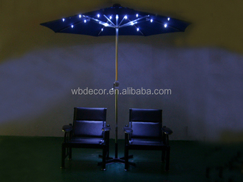 Leisure Outdoor Solar Patio Umbrella With 24 Led Lights Handle Crank And  USB Charger