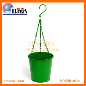 GREEN HOUSE HANGING POT IRON BUCKET W/IRON CHAIN PLANT POT