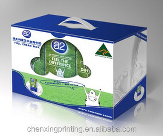 Corrugated Board Paper Type and UV Coating Printing Handling milk carton box