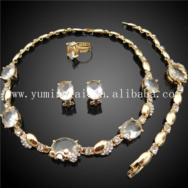 Dubai Gold Jewelry SetBig Stone Pendant JewelryGold Moroccan