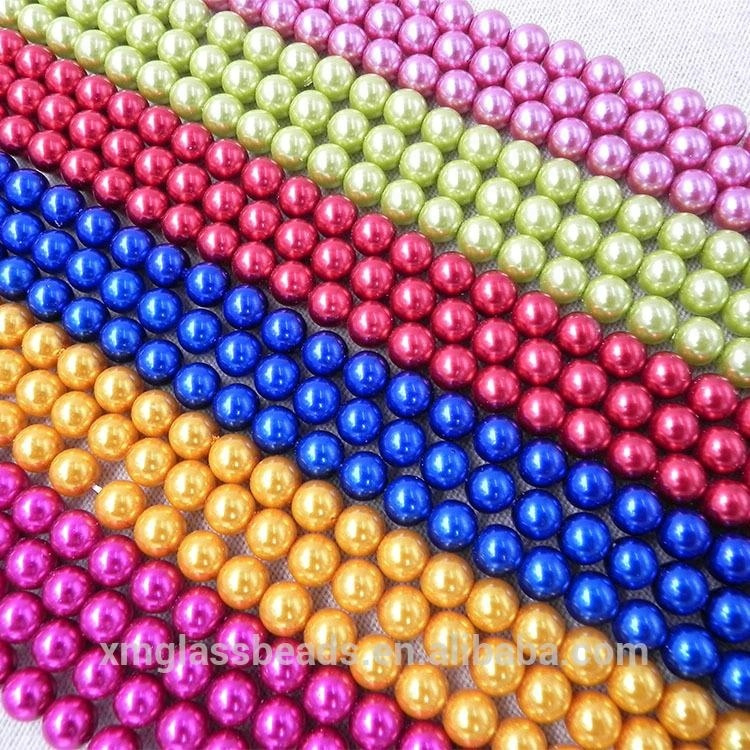 200 pcs 4mm  No Hole Round Pearl Loose Acrylic Beads Jewelry Making Light brown