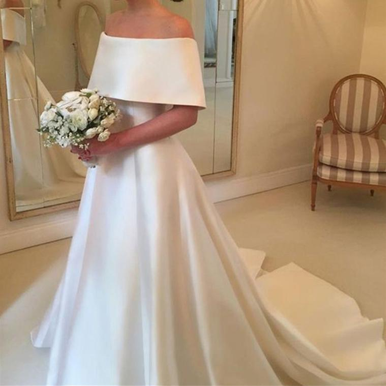 2019 Simple White Satin Wedding Dresses Boat Neck Off The Shoulder A Line Sweep Train High Quality Bridal Dress Robe De Mariage фото