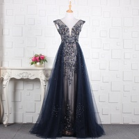 Navy/Gray/Champagne Low V Neck See Through Corset A Line Heavy Beaded 2018 Women's Special Occasion Dress Fashion Evening Dress