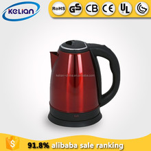 Red painting stainless steel electric kettle with overheating protection function