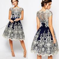 zm33135a women party dress vintage lady lace fabric cocktail dresses