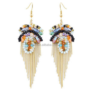 New Fashion Cool Summer Boho Handmade Initial Crystal Earrings to Party Wedding