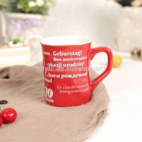 wholesale 9 oz red glaze ceramic coffee mug with letter design