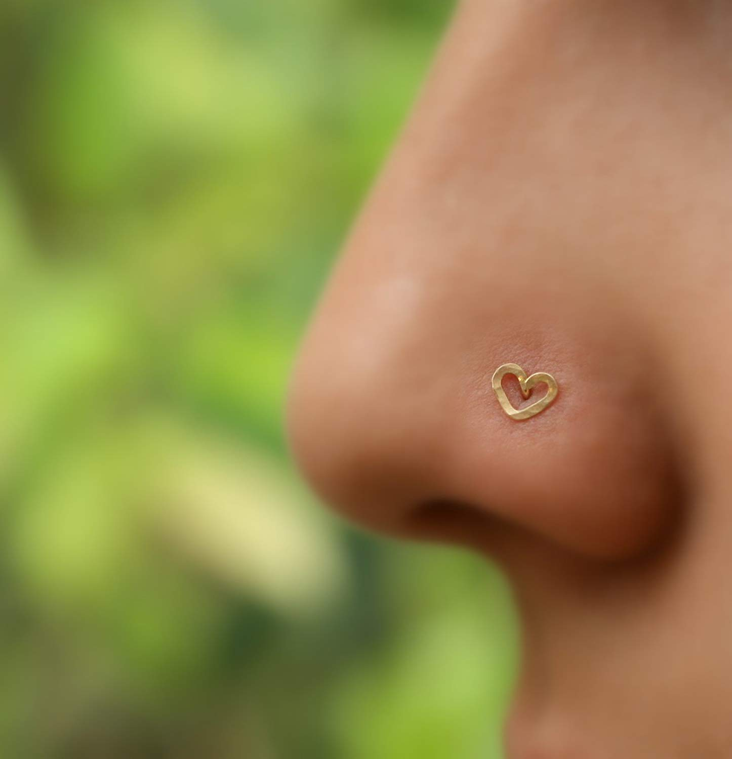 Nose Ring Stud - Cartilage Tragus Earring - 14K Yellow/Rose/White Gold - Open Heart -22G to 16G Post