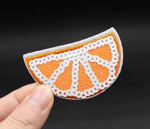 High quality Delicious sequin patch Orange iron on fruit patch embroidered wholesale food patch Iron On Embroidered