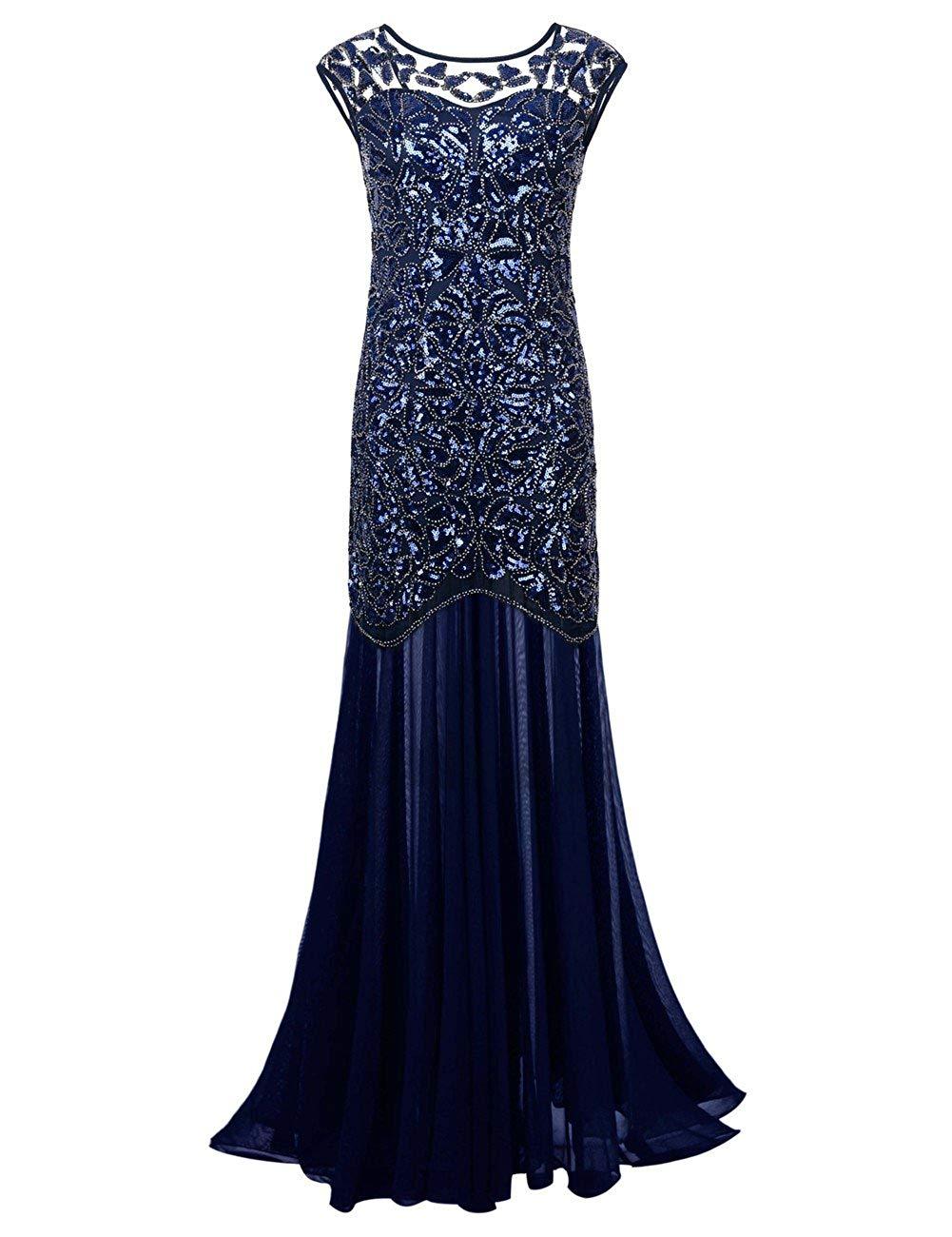 9b0bb901b2b4a Get Quotations · kayamiya Women's 1920s Beaded Sequin Floral Maxi Long  Gatsby Flapper Prom Dress