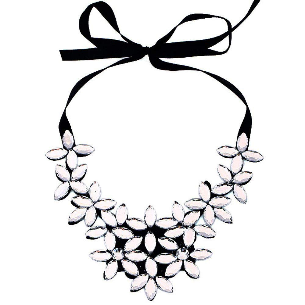 Gbell Clearance! Womens' Flower Crystal Ribbon Ajustable Necklace Chain - Short Choker Pendant Chunky Collar Jewelry Gifts for Women Girls Lady,1Pcs,Black White Gold