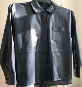 Branded Men's PU Leather Shirt long Sleeves black Shirt