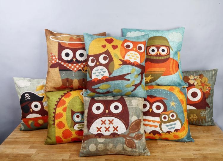 Free shipping throw pillow wedding decor linen fabric gift Hot sale 100% new 45cm Owl collection boho sofa cotton cushion cover