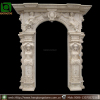Yellow travertine stone arch marble door frame
