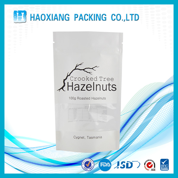 White color Custom Logo Printed stand up zipper bag for snack packaging