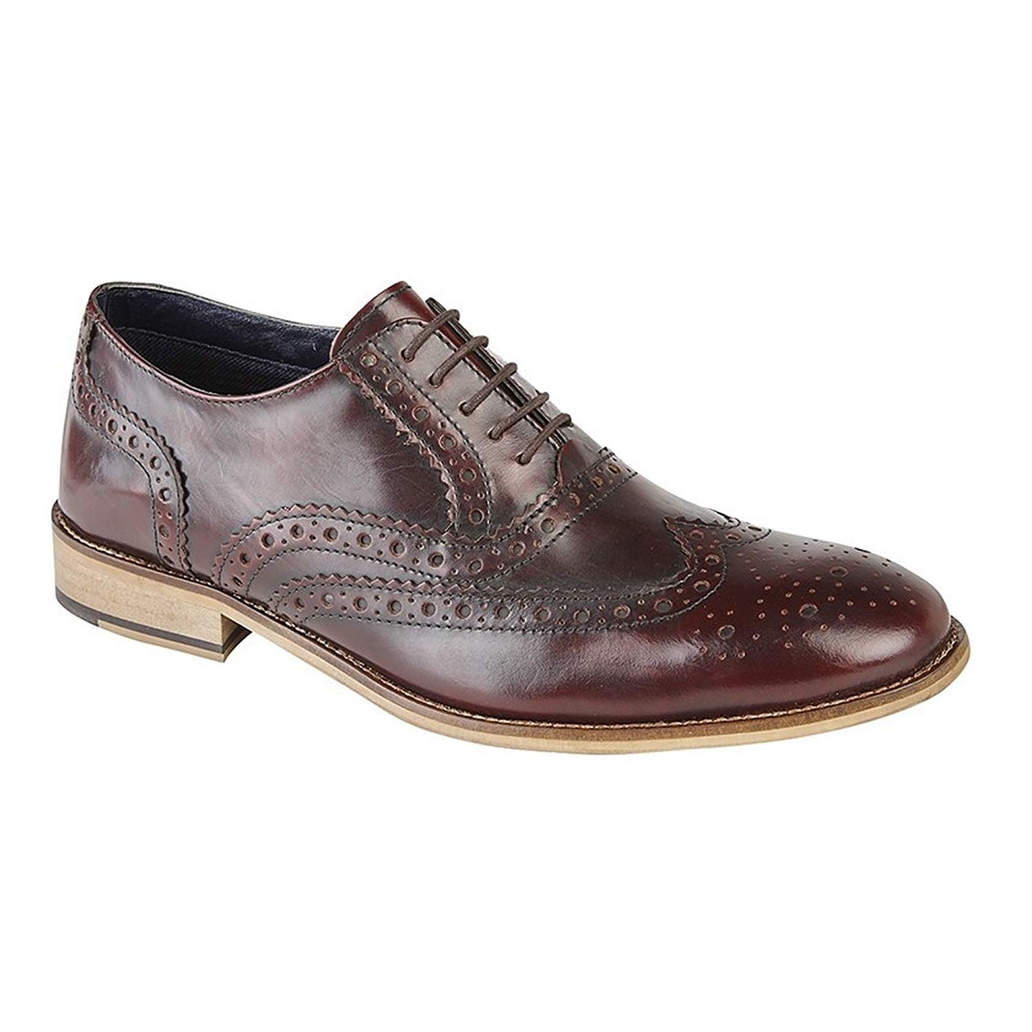 8c998059147 Get Quotations · Roamers Mens Leather Brogue Oxford Shoes