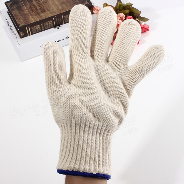 Brand MHR 7/10 gauge white knitted cotton gloves manufacturer in china/fabric glove cutting