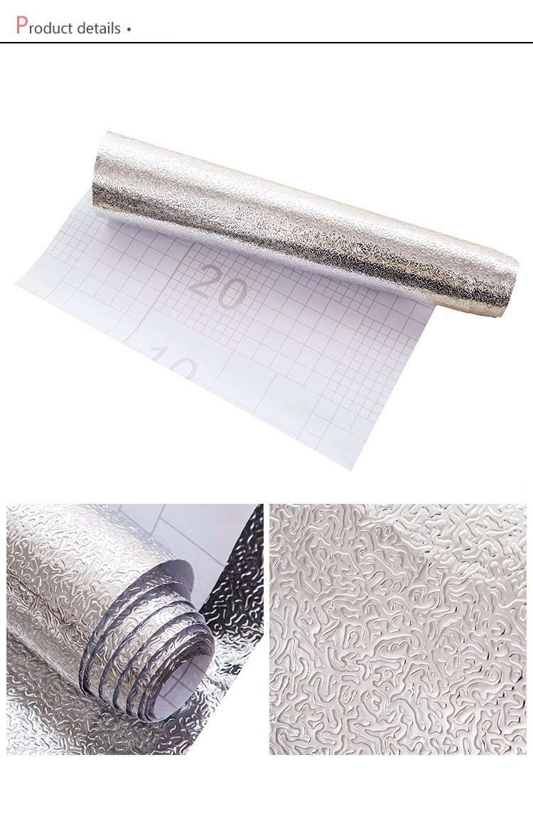 New coming silver oil Resistant waterproof sticker aluminum foil metallized self adhesive wallpaper in for kitchen cabinet stove