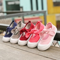 Hot selling baby shoes soild color girl bow sneakers knot canvas kids plimsolls
