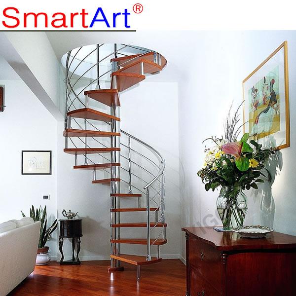 De vidrio escalera en espiral moderna de la escalera en for Casa moderna 9002
