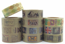 Retro Post Stamp Chop Label Vintage Washi Paper Masking Tapes DIY Decorative Stickers Gift Wrapping Sticker Party Favor