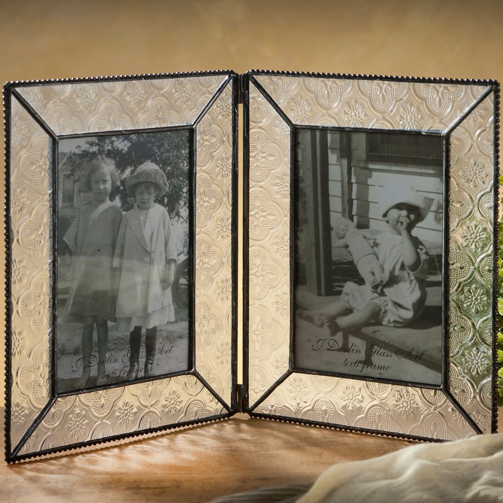 J Devlin Pic 126-46-2 Stained Glass 4x6 Double Picture Frame Tabletop Frame Keepsake Gift Vintage Home Decor Holds 2 Photos