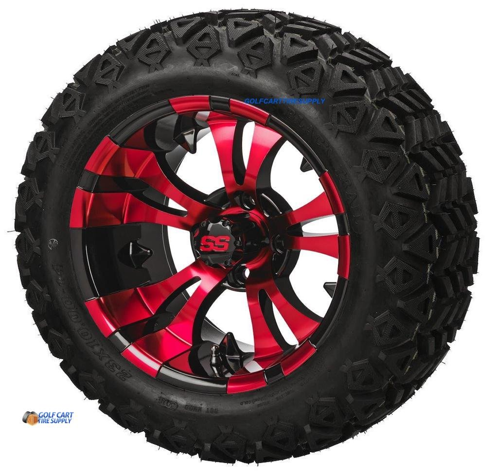 "14"" VAMPIRE RED/Black Aluminum Wheels and 23x10-14"" DOT All Terrain Golf Cart Tires Combo - Set of 4 (New Style 5-Spoke Vampire!)"