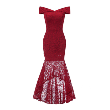Wholesale lady long  red Lace Cocktail Dress Dovetail Dress One-necked strapless lace cocktail dress
