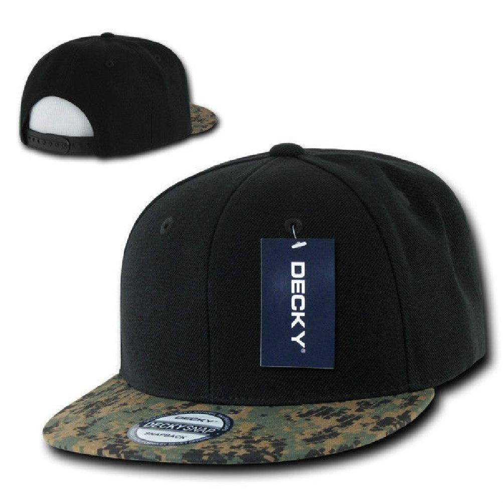 8b01bc3f24d28 Get Quotations · New Plain Flat Bill Snapback Hat Baseball Hats Cap  Black Wood Digital Camo