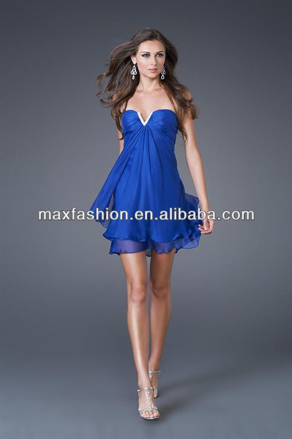 Layered Sweetheart Dark Blue Chiffon Short Cocktail Dresses
