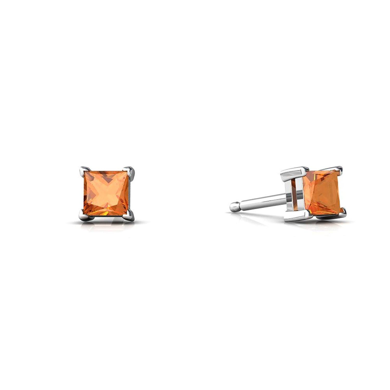 14kt Gold Fire Opal 3mm Square Princess Cut Stud Earrings