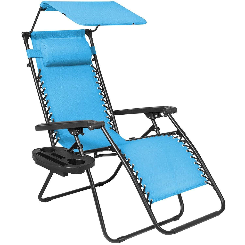 Folding Zero Gravity Lounge Chair W/ Canopy & Magazine Cup Holder-Light Blue