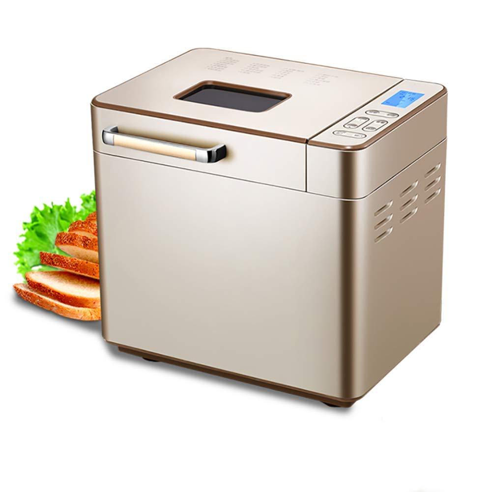 LJ-MBJ Household Breadmaker, Fully Automatic Multifunction Delay Timer Kitchen appliances Intelligent Breakfast Bread Machine-Gold