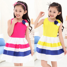 Baby girl dress summer 2016 brand fashion kids clothes girls baby dresses stripe new 2016 high