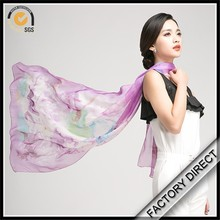 custom digital printed floral pattern silk chiffon scarf