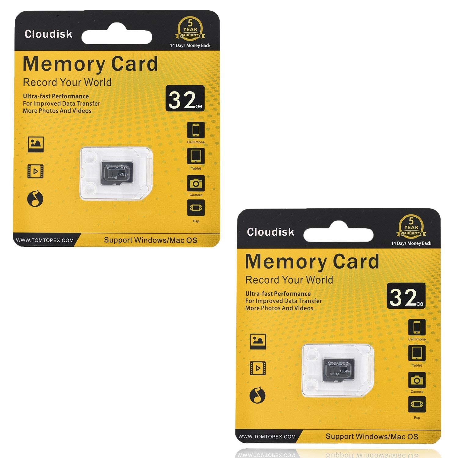 9a1c0025132 Get Quotations · Cloudisk 2Pack Memory Card 32GB Micro SD Cards Extreme Pro MicroSD  Card Professional 1080P Full HD