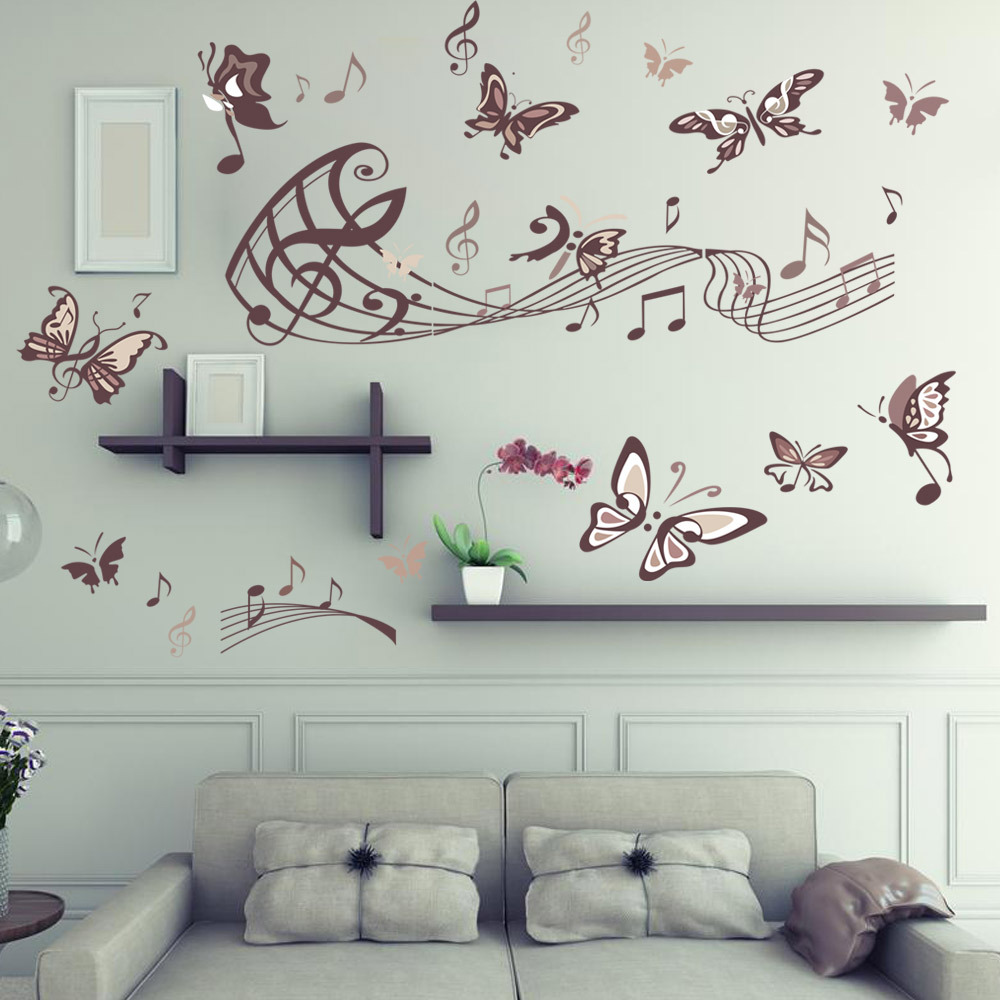 Butterfly music wall sticker removable vinyl wall decal - Removable wall stickers living room ...