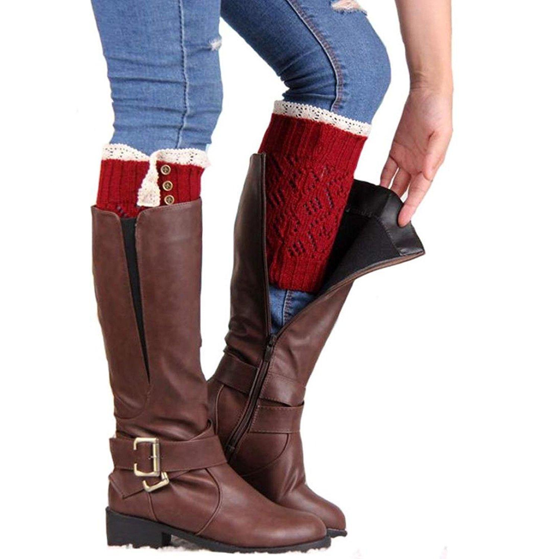Wintialy Womens Lace Stretch Boot Leg Cuffs Leg Warmers Socks Topper Cuff