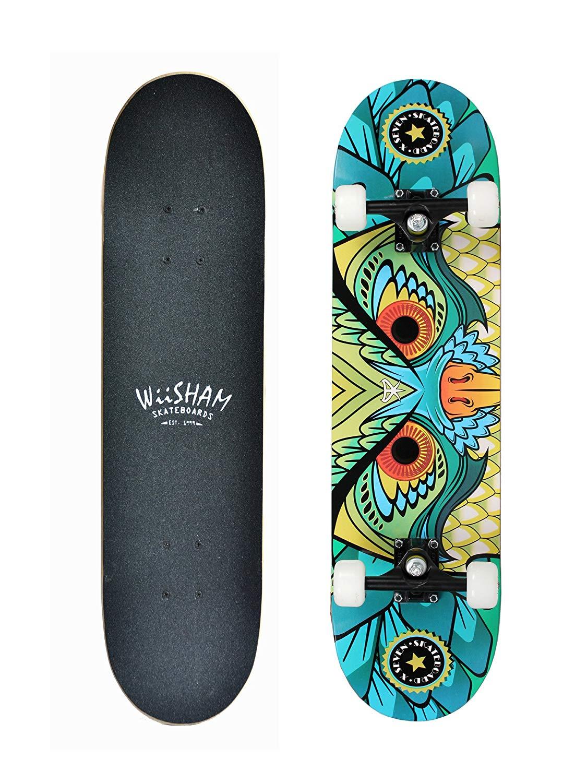 """Xtreme Free WiiSHAM Skateboards,Pro Skateboards,31"""" Complete Skateboard,Skateboards Teens,Skateboard Beginners,Skateboards Girls,31"""" Complete Skateboard,Kids Skateboard.Skateboards Adults"""