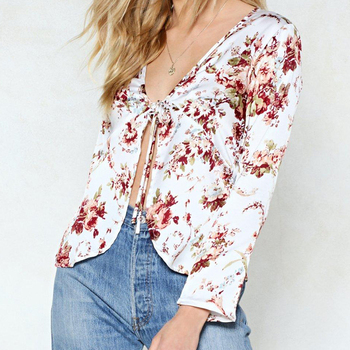 Accept sample service ladies/women fashion floral printed blouse design ,blouse with floral print