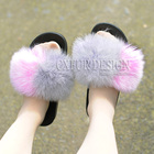CX-A-100 New Design Fashion Women Slippers Furry Fox Fur Slides Slipper With Fur