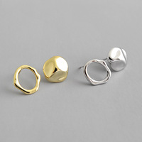 INS Irregular concave-convex geometric circular female S925 sterling silver stud earrings