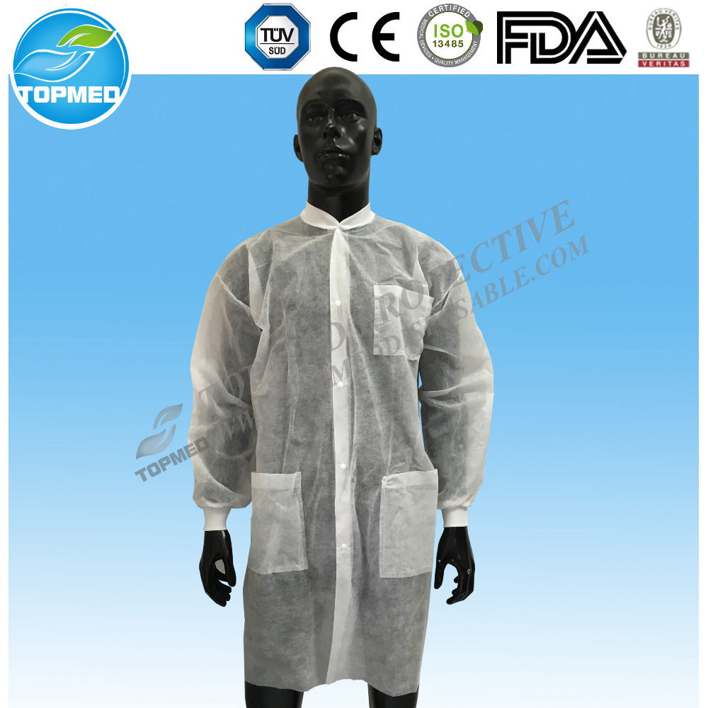 Nonwoven polypropylene lab coat paper white lab coats with elastic cuff for food processing