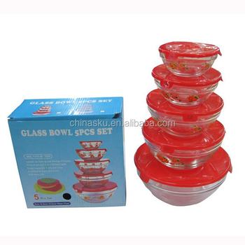5 pcs glass bowl set with lid