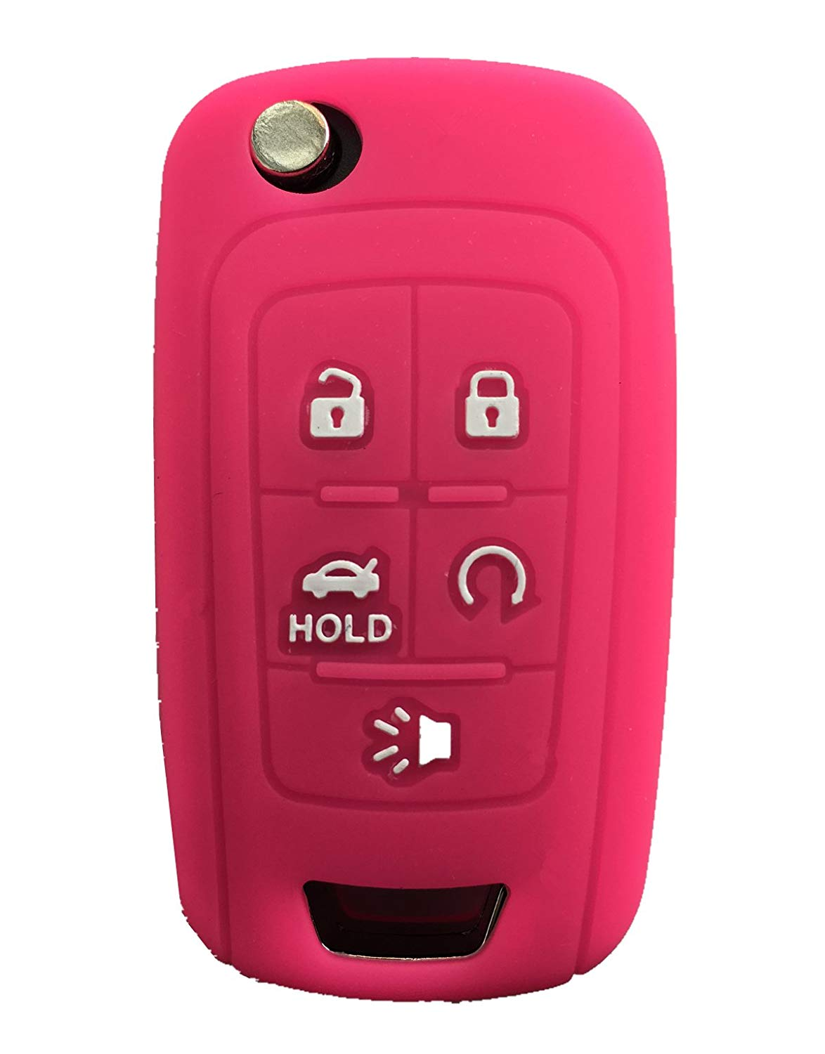 KAWIHEN Silicone Keyless Entry Case Cover Smart Remote Key Fob Cover Protector For Chevrolet Camaro Cruze Equinox Impala Malibu Sonic OHT01060512 KR55WK50073(Pink)